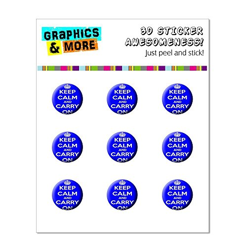 Graphics and More Keep Calm And Carry On Blue Home Button Stickers Fits Apple iPhone 4/4S/5/5C/5S, iPad, iPod Touch - Non-Retail Packaging - Clear - 1