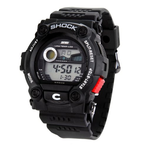Shot-In Sports Calendar Waterproof Men Led Digital Electronic Wrist Watch Male - Black - 9.06X1.65X1.61