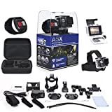 ASX ActionPro-X w/ Waterproof Wrist Remote - Full 1080p HD Wifi Sports Cam - Carrying Case - 2 inch Screen - Head Strap - 20 Accessories Included