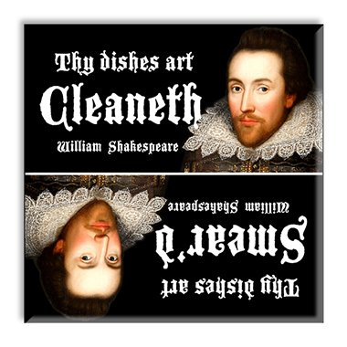 Guajolote Prints Silly Grammar Shakespeare Dishwasher Magnet 2.5 x 2.5 inches