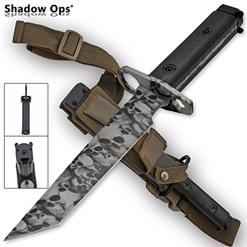 Shadow-Ops Heavy Duty Bayonet Full Tang Tanto Blade with Wood Handle and ABS Plastic Sheath Features Strap Loop and Belt