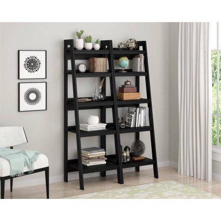 Altra Metal Ladder Bookcase, Set of 2, Black 9482096 Natural Cherry 2 Door Cabinet