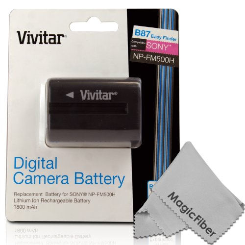 Vivitar Np-Fm500H Ultra High Capacity 1800Mah Li-Ion Battery For Sony Alpha A58, A57, A65, A77, A99, A900, A700, A580, A560, A550, A850 (Sony Np-Fm500H Replacement)