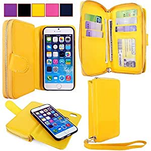 For Apple iPhone 6 6S Ladies Bag Case - Cellularvilla PU Leather Wallet Flip Bag Pouch With Credit Card Slots and Money Slot and Other Stuff Case Cover For Apple iPhone 6 6S 4.7 inch (Yellow)