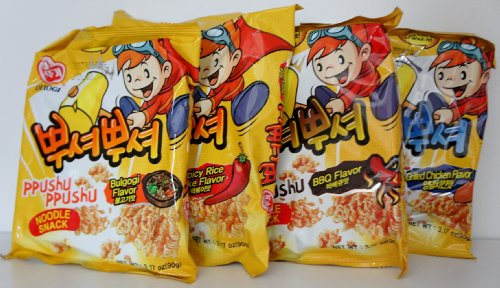 Korean Ppushu Ppushu Smash Noodle Variety Combo Snack Pack Set (Rice Cakes Variety Pack compare prices)
