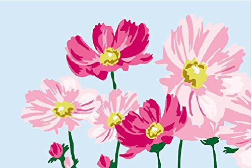 Diy oil painting, paint by number kits for kids - Beautiful flowers 20X30cm.