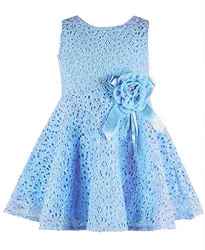 Little Girls Party Dress Sleeveless Flowers Princess Dresses 6-12Months Light Blue (Baby Dress Light Blue compare prices)