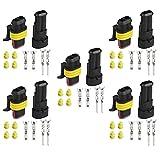[EMY] HID/汎用 2ピン 密閉型 防塵 防水コネクタ 耐高圧カプラー オス/メス 5組セット