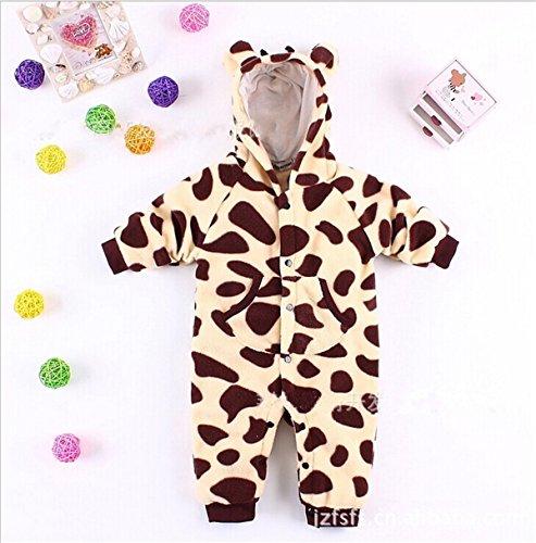 Baby Newborn Infant Boy Polar Fleece Jumpsuit Onepiece (80Cm, Giraffe)