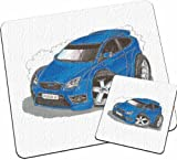 Personalised Koolart Ford Focus ST Car Glass Table Mat Set