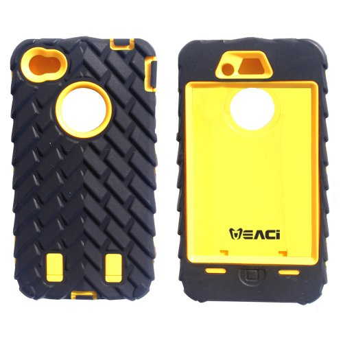 Meaci® Iphone 4 4S Case 3In1 Tire Stripe Combo Hybrid Defender High Impact Body Armorbox Hard Pc&Silicone Case (Yellow)