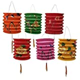 DMtse 12CM Diameter Pack of 12 Mix Colour Chinese New Year Paper Lanterns (Assorted) (Color: Red, Yellow, Orange,Pink)