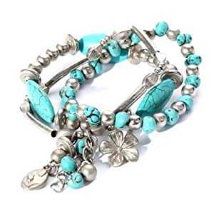 Yazilind Jewellery Gift Tibetan Sliver Overlap Turquoise Stretch Bracelet for Women