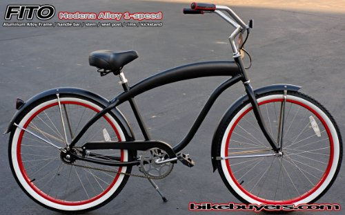 Anti-Rust Aluminum frame, Fito Modena Alloy 1-speed Matte Black/Red men's Beach Cruiser Bike Bicycle Micargi Schwinn Nirve Firmstrong style