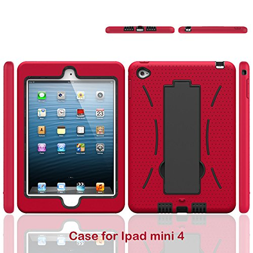 iPad Mini 4 Case, High Quality Scratch-Resistant Dual Layer Hybrid Protective Case and Shockproof Bumper with Two-Way Kickstand Portrait and Landscape Mode (Red)