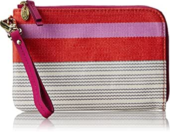 Fossil Keyper Wristlet Wallet,Pink Stripe,One Size
