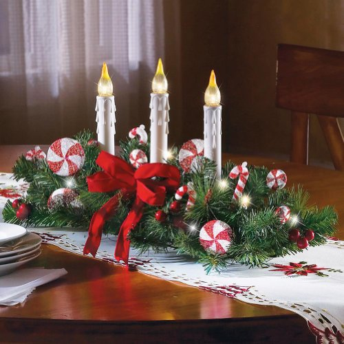 Candy Cane Flameless Candle Holiday Centerpiece (Holiday Table Centerpieces compare prices)
