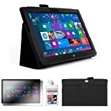 DURAGADGET Executive Black Faux Leather Folio Case With Built In Stand Custom Designed For The Microsoft Surface 10.6 Inch Tablet Hybrid PC (With Windows RT, 32GB, 64GB, Type Cover Keyboard) + FREE Gift: Screen Protector Worth £3.99 + BONUS Cleaning Clot