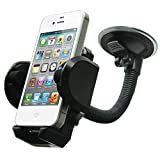 LotFancy Cell Phone Holder - Mobile Phone Car Mount - 360° Rotation Windshield Dashboard Cradle for GPS iPhone 7 7Plus 6 6Plus 5S 5 5C Samsung Galaxy S7 Edge 6S Note 7 5 Smartphones