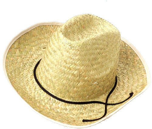 One Adult Size High Crown Straw Cowboy Hat