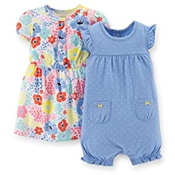 Carter\'s Baby Girls\' 2 Piece Dress & Romper Set (Baby) - Blue - 9 Months