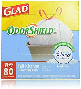Glad OdorShield Tall Kitchen Drawstring Trash Bags, Fresh Clean, 80 Count