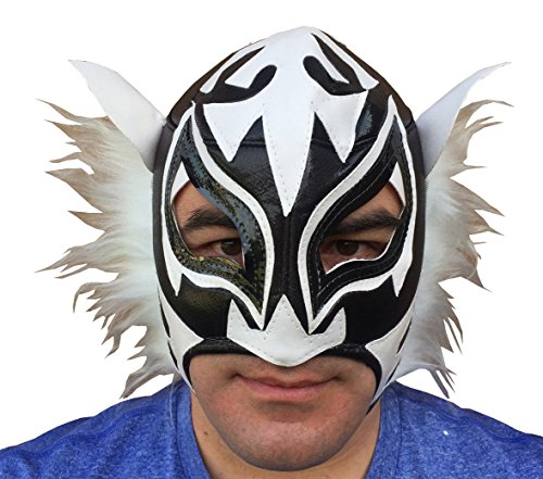 WHITE TIGER Adult Lucha Libre Wrestling Mask (pro-fit) Costume Wear - Black/White