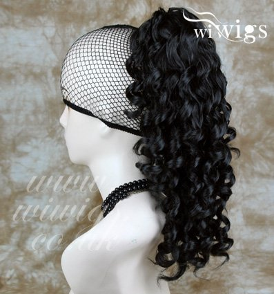 Black Ponytail Irish Dance Extension Spiral Curly Hair Piece by Wiwigs