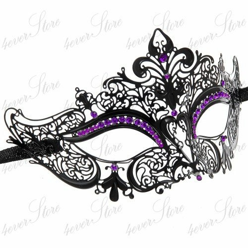 Luxury Collection Metal Laser Cut Venetian Masquerade Mask (Black w/ Purple Rhinestones)