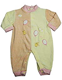 Beyond Basics Kids - Baby Girls Long Sleeved Velour Coverall, Pink, Yellow 8583-3-6Months
