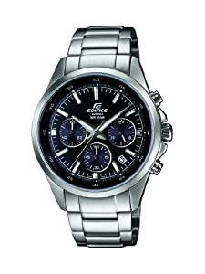 Casio Edifice Men's Quartz Watch with Black Dial Analogue Display and Silver Stainless Steel Bracelet EFR-527D-1AVUEF