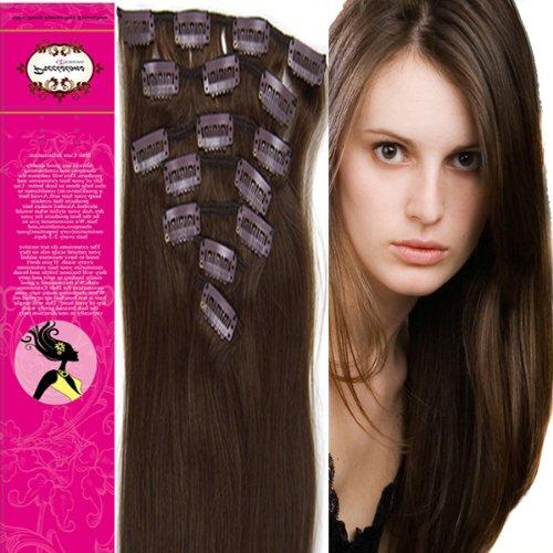 38,1 cm 100% cheveux humains véritables cheveux raides 7 pièces à clipser pour extensions de cheveux humains Couleur 04 Marron Moyen 70 g Beauté Design Salon