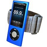 IGadgitz BLUE Silicone Skin Case Cover & Sports Gym Jogging Armband for Apple iPod Nano 5th Generation 5G (with Video Camera) 8GB & 16GB + Screen Protector & Lanyard