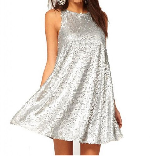 WIIPU womens o-neck Sleeveless Loose Sequin Dress Cocktail Party dress (J2-218)-Large silver
