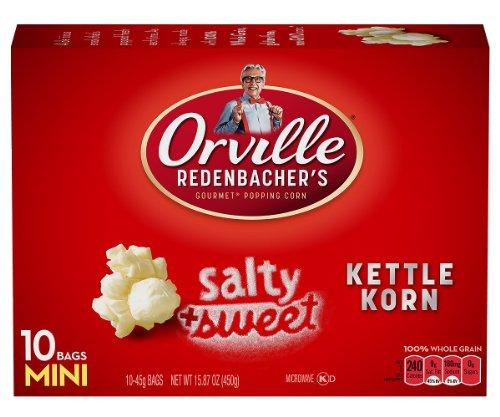 Orville Redenbacher Kettle Korn Popcorn Mini Bags, 45 Gram Bag, 10-Count (Pack Of 3)