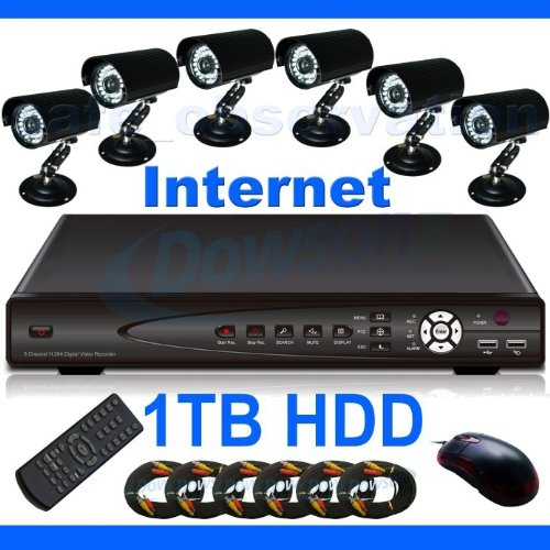 CCTV Surveillance Video System 8 Channel 1000GB HDD H.264 DVR with 6 x Sharp Color CCD 36 IR Day/Night Indoor/Outdoor Security Cameras and 6x 60ft Siamese Cables and Power Adapter Unit included! Internet Access and Smartphone & 3G Mobile Phone Live View!