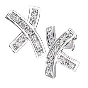 Boucles d'oreilles - Femme - Or Blanc 375/1000 (9 Cts) 1.8 Gr - Diamant