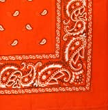 "Bandanas By The Dozen 100% Cotton 12-Pack 22"" x 22"" - Paisley Orange"