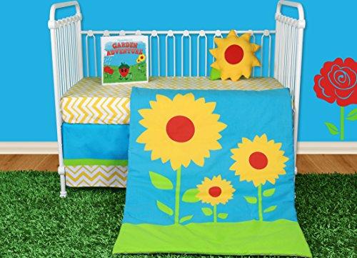 Snuggleberry Baby Sunflower Love 5 Piece Crib Bedding Set with Storybook