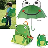Cartoon School Backpack with Frog Kids Animal Insulated Lunch Bag +Frog Umbrella Gift Set