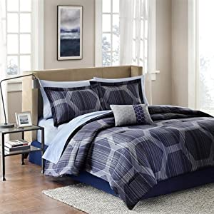 Madison Park Essentials Rincon Complete Bed and Sheet Set - Blue - Queen