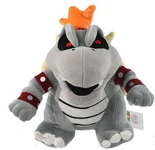 "super mario bros bowser koopa dry bone grey 10"" plush doll toy RARE!"