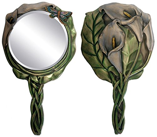 Beautiful Calla Lily Dragonfly Bronzed Patina Resin hand Mirror Vanity Accesory (Fly Accesories compare prices)