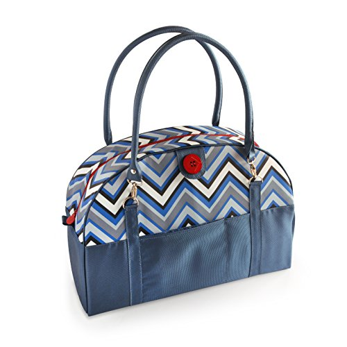 2 Red Hens Coop Carry-All Diaper Bag, Blue Chevron