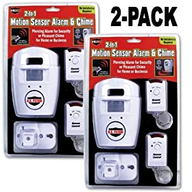 Wireless Motion Sensor Alarm and Chime Kit (2 Pack) with two remote controls and wall mount