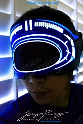 Light up Pauseii Cyborg Mask Cybernetic Mask - Dj EYE Mask for Electric Style Glow Dancer Futuristic Mask Light up Robot Robotic Mask Light up LED Light Show Mask Electronic Music Party Masquerade Carvinal Carnaval Festival Edm Concert Electronic Dance Mu