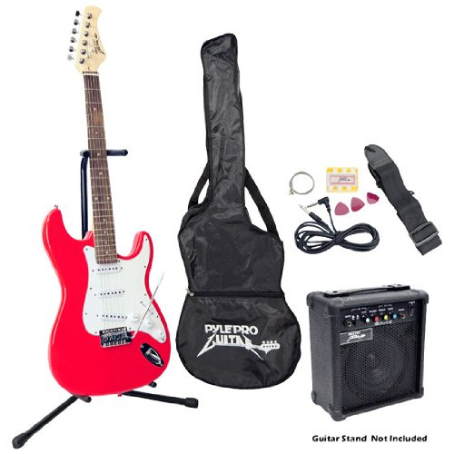 Pyle-Pro PEGKT15R Beginner Electric Guitar Package Red