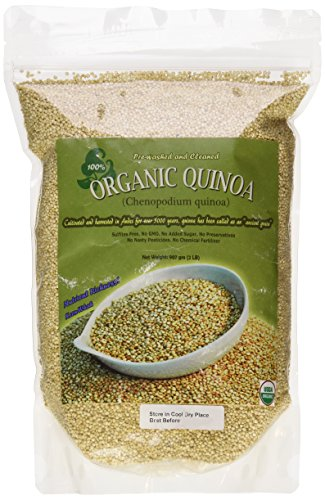Indus Organic White Quinoa Seeds, 2 Lb Premium Quality, 99% Purity, Pre-Washed, Non-gmo, Freshly Packed