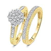 3/4 Carat T.W. Round Cut Diamond Engagement Ring and Women's Wedding Band Set 10K White Gold