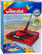 Vileda 123187 - Escoba eléctrica, inalámbrica, práctica y ligera, cepillo + mopa de color rojo